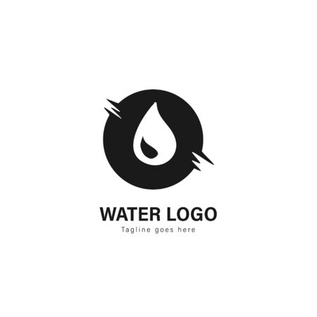 Water logo template design. Water logo with modern frame isolated on white background Standard-Bild - 129495820
