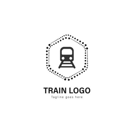 Train logo template design. Train logo with modern frame isolated on white background
