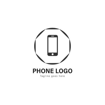 Smart phone logo template design. Smart phone logo with modern frame isolated on white background