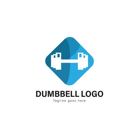 Fitness logo template design. Fitness logo with modern frame isolated on white background 写真素材 - 129496090