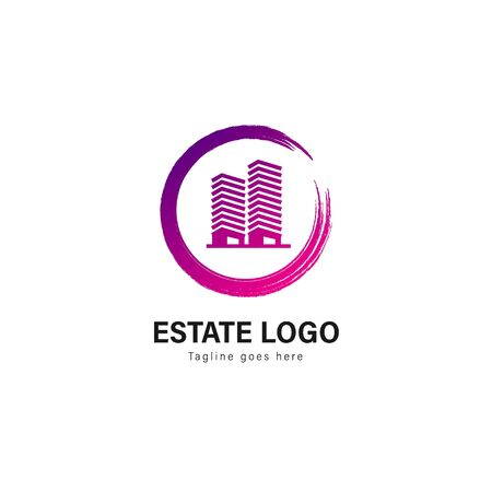 Real estate logo template design. Real estate logo with modern frame isolated on white background Stockfoto - 129496127