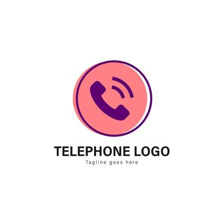 Telephone logo template design. Telephone logo with modern frame isolated on white background