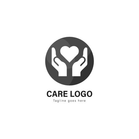 Care logo template design. Care logo with modern frame isolated on white background Illustration