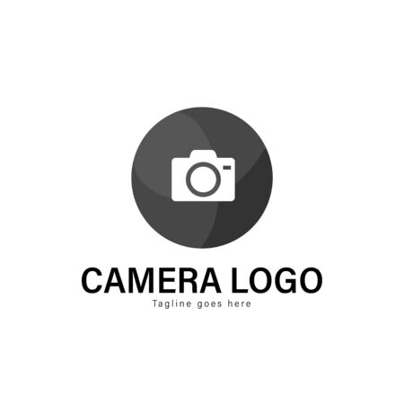Camera logo template design. Camera logo with modern frame isolated on white background