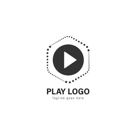 Media play logo template design. Media play logo with modern frame isolated on white background Stock Vector - 129530471