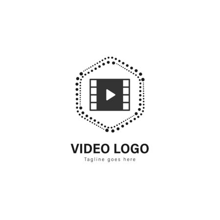 Video logo template design. Video logo with modern frame isolated on white background Stock Vector - 129530548