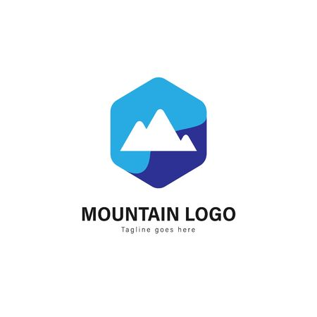 Mountain logo template design. Mountain logo with modern frame isolated on white background Vectores