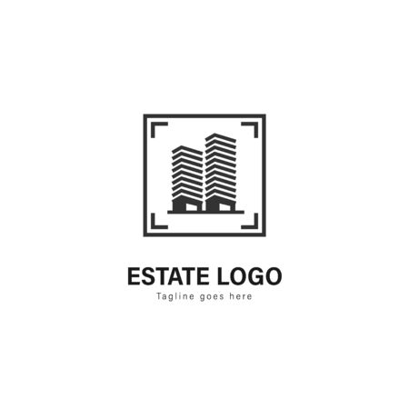 Real estate logo template design. Real estate logo with modern frame isolated on white background Stockfoto - 129530714