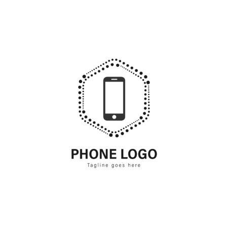 Smart phone logo template design. Smart phone logo with modern frame isolated on white background Stock Vector - 129531359