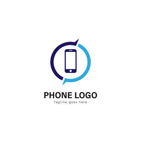 Smart phone logo template design. Smart phone logo with modern frame isolated on white background Illustration