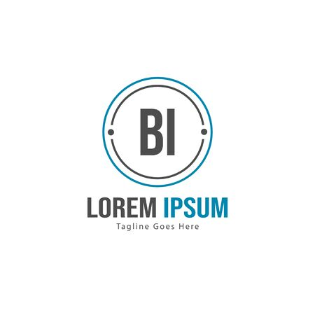 BI Letter Logo Design. Creative Modern BI Letters Icon Illustration
