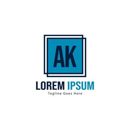 AK Letter Logo Design. Creative Modern AK Letters Icon Illustration
