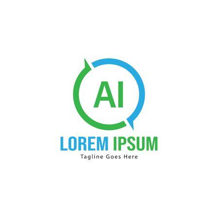 AI Letter Logo Design. Creative Modern AI Letters Icon Illustration