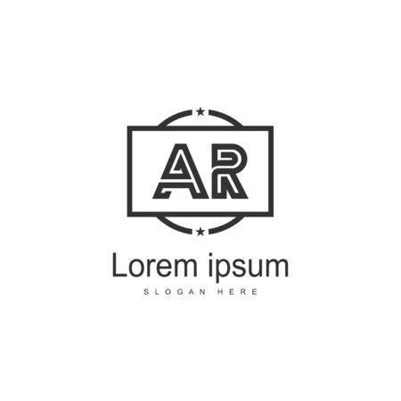 Projektowanie Logo litery AR. Kreatywne nowoczesne litery AR ikona ilustracja