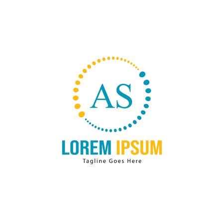 AS Letter Logo Design. Creative Modern AS Letters Icon Illustration Illustration