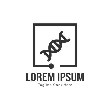 DNA logo template design with frame. minimalist DNA logo vector illustration Ilustração