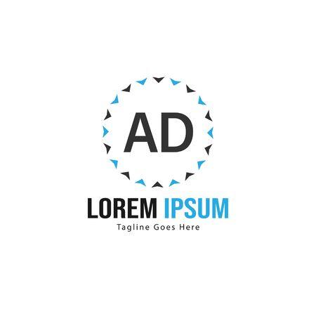 AD Letter Logo Design. Creative Modern AD Letters Icon Illustration