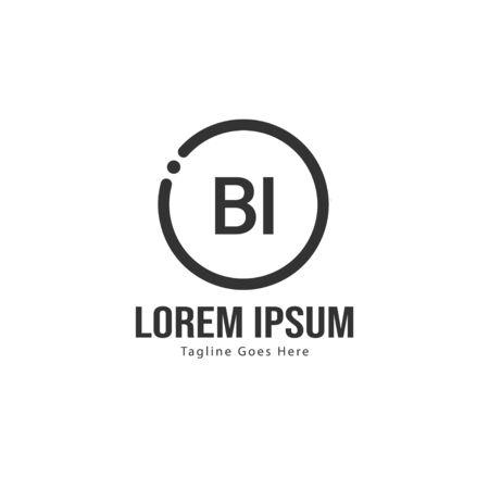 BI Letter Logo Design. Creative Modern BI Letters Icon Illustration