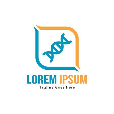 DNA logo template design with frame. minimalist DNA logo vector illustration Imagens - 129891828