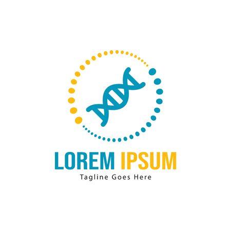 DNA logo template design with frame. minimalist DNA logo vector illustration Illustration