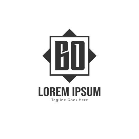BO Letter Logo Design. Creative Modern BO Letters Icon Illustration Çizim