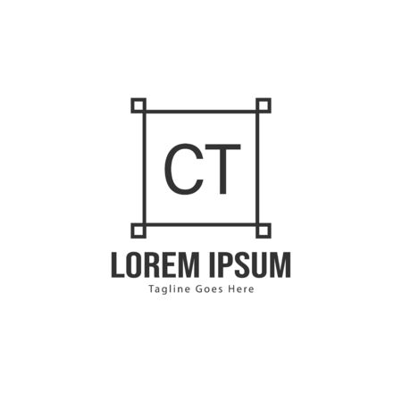 Initial CT logo template with modern frame. Minimalist CT letter logo vector illustration  イラスト・ベクター素材