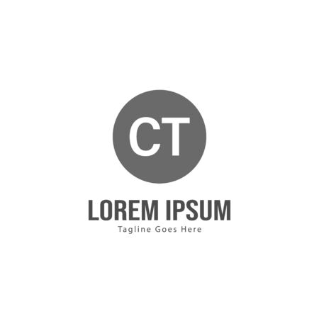 Initial CT logo template with modern frame. Minimalist CT letter logo vector illustration