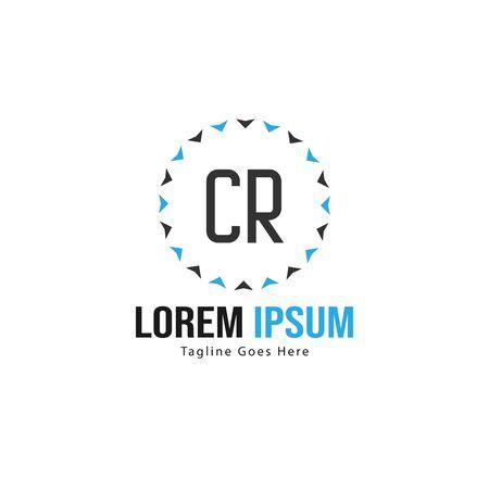 Initial CR logo template with modern frame. Minimalist CR letter logo vector illustration Logó