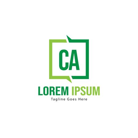 Initial CA logo template with modern frame. Minimalist CA letter logo vector illustration