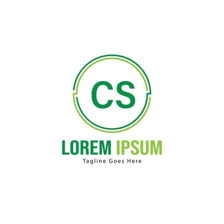 Initial CS logo template with modern frame. Minimalist CS letter logo vector illustration