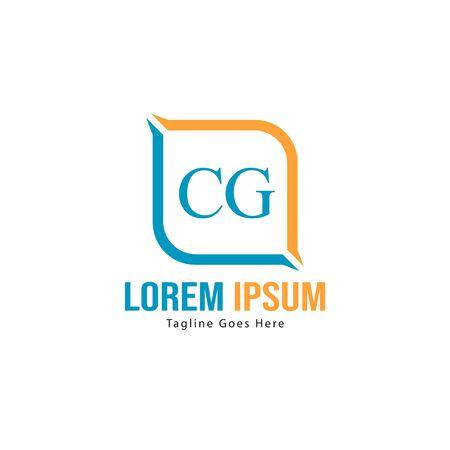 Initial CG logo template with modern frame. Minimalist CG letter logo vector illustration Logo