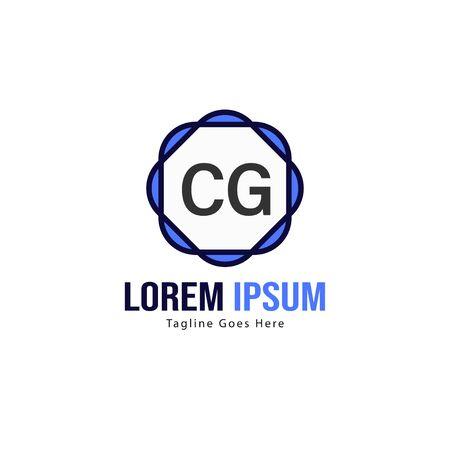 Initial CG logo template with modern frame. Minimalist CG letter logo vector illustration