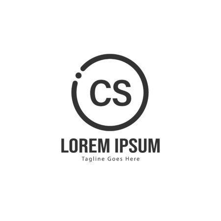 Initial CS logo template with modern frame. Minimalist CS letter logo vector illustration Logó