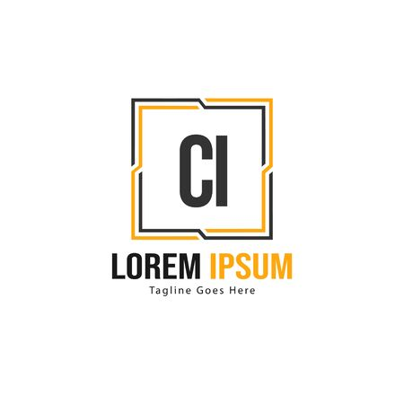 Initial CI logo template with modern frame. Minimalist CI letter logo vector illustration