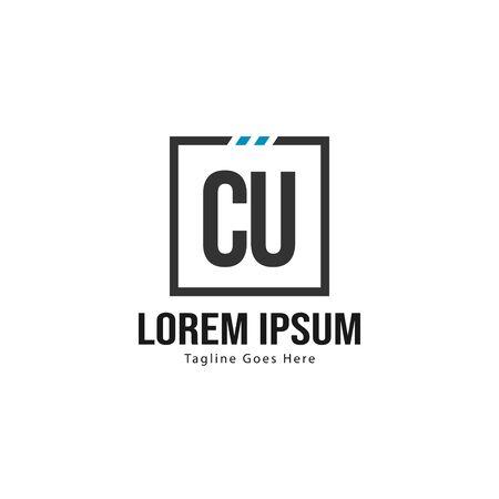 Initial CU logo template with modern frame. Minimalist CU letter logo vector illustration Illusztráció