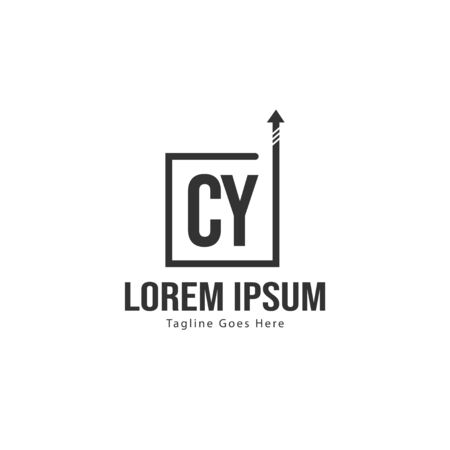 Initial CY logo template with modern frame. Minimalist CY letter logo vector illustration
