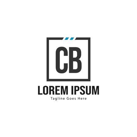 Initial CB logo template with modern frame. Minimalist CB letter logo vector illustration Illusztráció