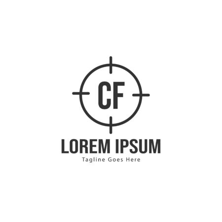 Initial CF logo template with modern frame. Minimalist CF letter logo vector illustration Stock fotó - 129279488