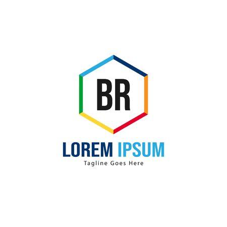 BR Letter Logo Design. Creative Modern BR Letters Icon Illustration