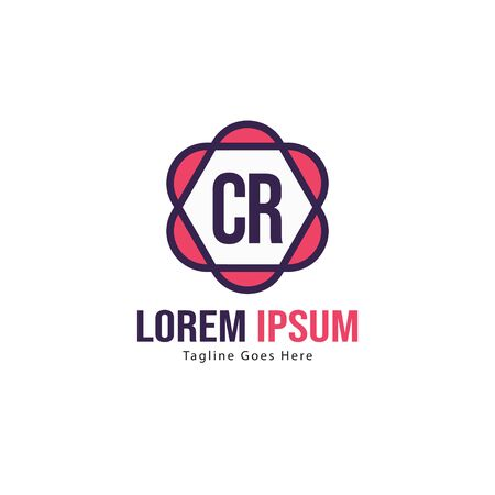 Initial CR logo template with modern frame. Minimalist CR letter logo vector illustration