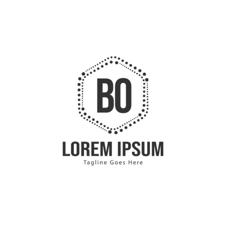 BO Letter Logo Design. Creative Modern BO Letters Icon Illustration Çizim