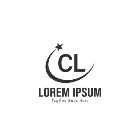 Initial CL logo template with modern frame. Minimalist CL letter logo vector illustration Logó