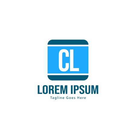 Initial CL logo template with modern frame. Minimalist CL letter logo vector illustration