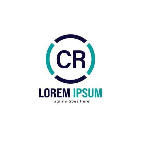 Modello di logo CR iniziale con cornice moderna. Illustrazione vettoriale minimalista del logo della lettera CR Logo