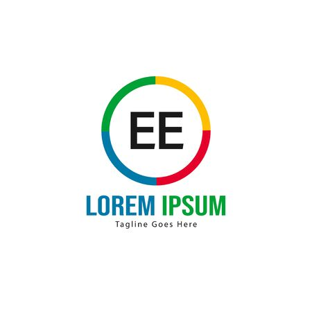 Initial EE logo template with modern frame. Minimalist EE letter logo vector illustration Banco de Imagens - 129492832