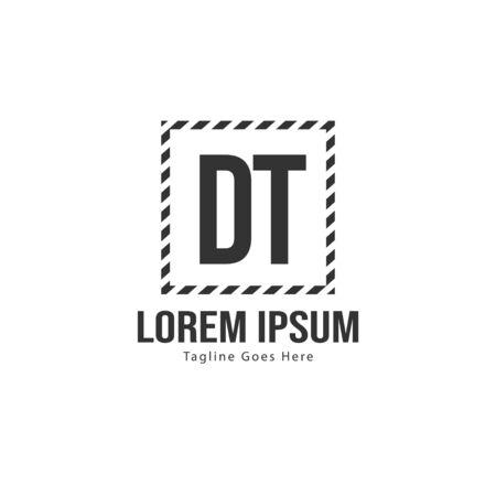 Initial DT logo template with modern frame. Minimalist DT letter logo vector illustration Logo