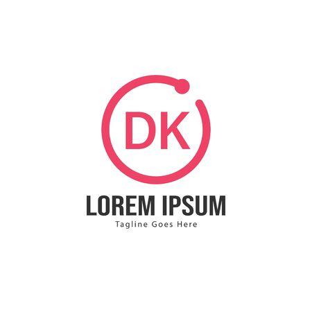Initial DK logo template with modern frame. Minimalist DK letter logo vector illustration Logó