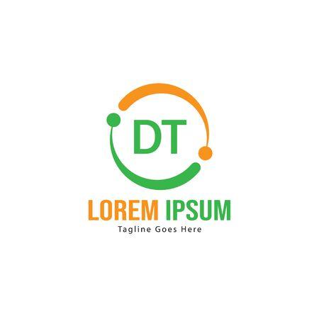 Initial DT logo template with modern frame. Minimalist DT letter logo vector illustration Logó
