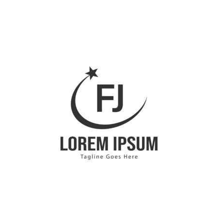 Initial FJ logo template with modern frame. Minimalist FJ letter logo vector illustration Logó