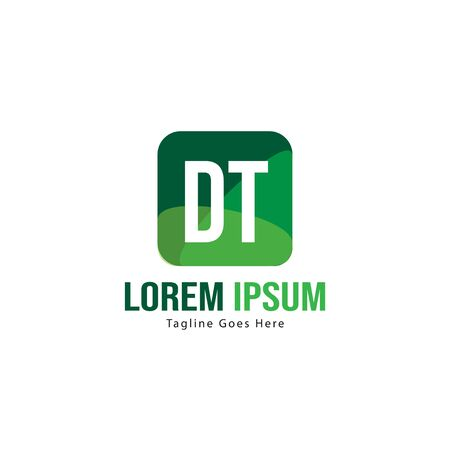 Initial DT logo template with modern frame. Minimalist DT letter logo vector illustration